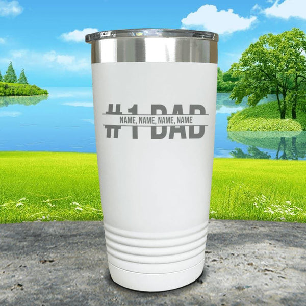 #1 Dad (CUSTOM) With Child's Name Engraved Tumbler Tumbler ZLAZER 20oz Tumbler White
