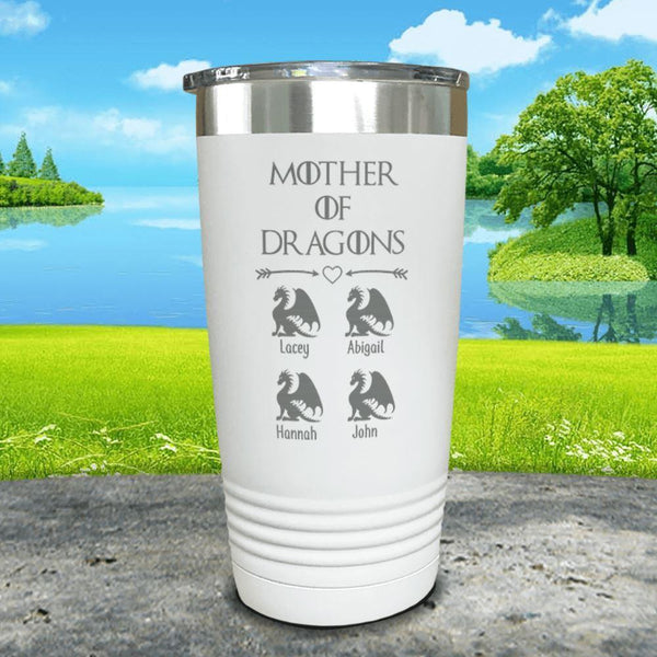 Mother Of Dragons (CUSTOM) With Child's Name Engraved Tumblers Tumbler ZLAZER 20oz Tumbler White