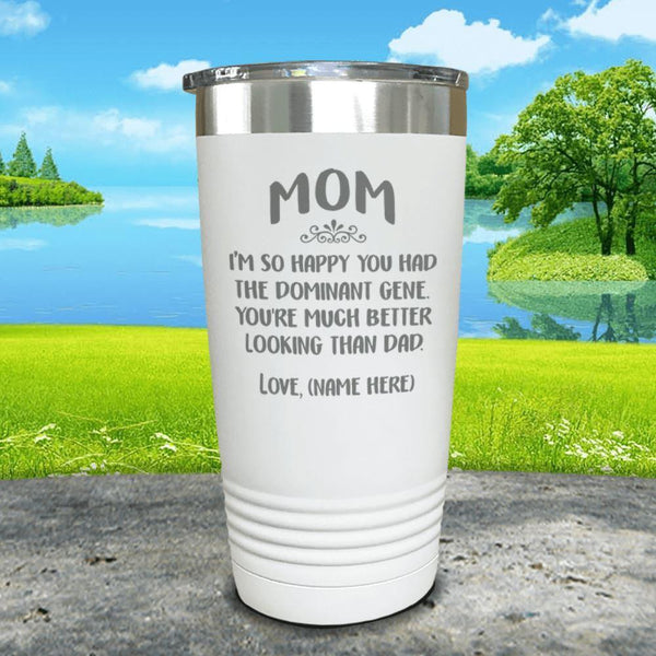Mom Dominant Gene (CUSTOM) With Child's Name Engraved Tumbler Tumbler ZLAZER 20oz Tumbler White