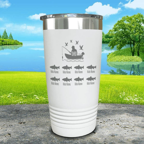Fishing Dad (CUSTOM) With Child's Name Engraved Tumblers Tumbler ZLAZER 20oz Tumbler White