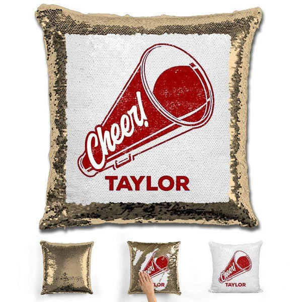 Cheerleader Personalized Magic Sequin Pillow Pillow GLAM Gold Maroon