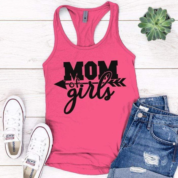 Mom Of The Girls Premium Tank Tops Apparel Edge Pink S