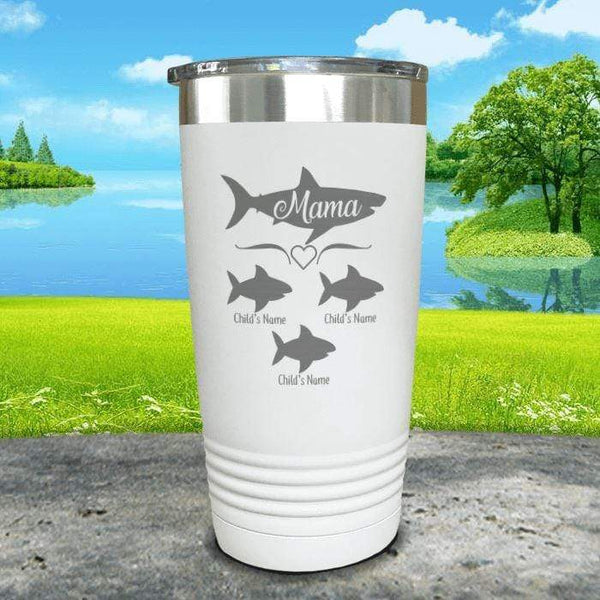 Mama Shark (CUSTOM) With Child's Name Engraved Tumblers Tumbler Southland 20oz Tumbler White