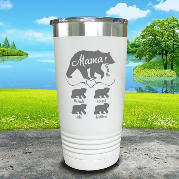 Mama Bear Nurse (CUSTOM) With Child's Name Engraved Tumblers Tumbler ZLAZER 20oz Tumbler White