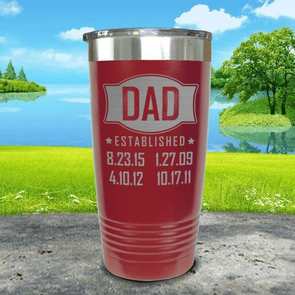 Dad Established CUSTOM Dates Engraved Tumblers Tumbler ZLAZER 20oz Tumbler Maroon