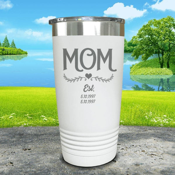 Mom Est (CUSTOM) Engraved Tumblers Tumbler ZLAZER 20oz Tumbler White