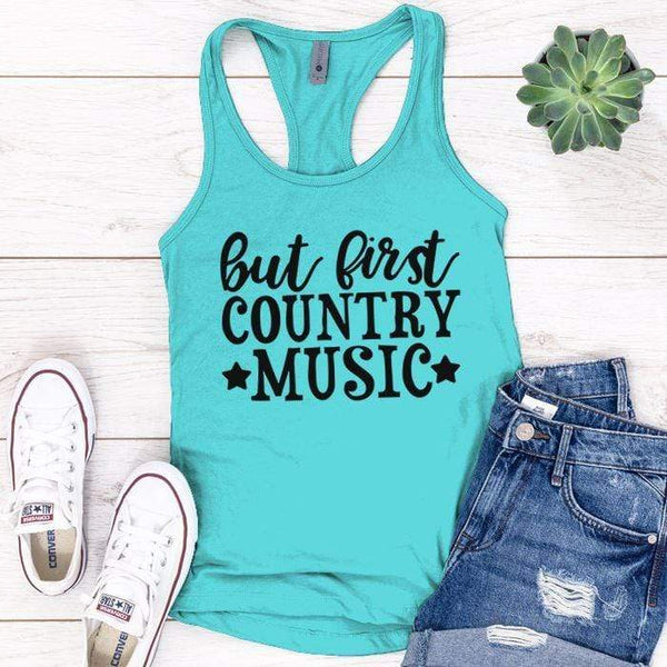 Country Music Premium Tank Tops Apparel Edge Tahiti Blue S