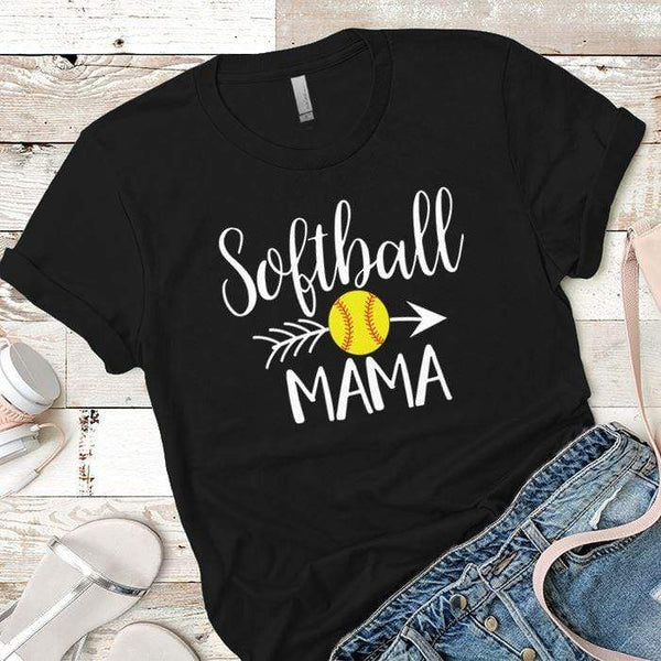 Softball Mama Premium Tees T-Shirts CustomCat Black X-Small