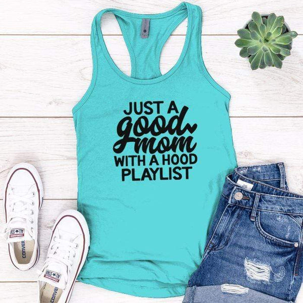 Just A Good Mom Premium Tank Tops Apparel Edge Tahiti Blue S