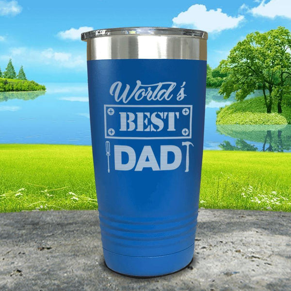 World's Best Dad Engraved Tumbler Tumbler ZLAZER 20oz Tumbler Blue