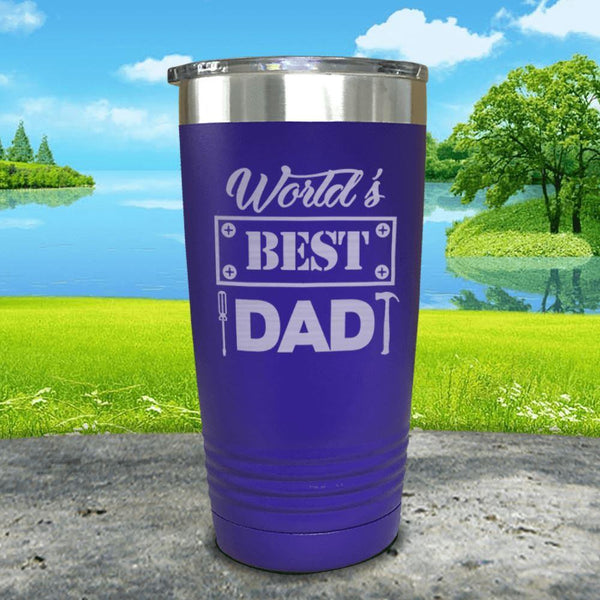World's Best Dad Engraved Tumbler Tumbler ZLAZER 20oz Tumbler Royal Purple