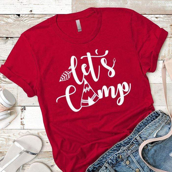 Lets Camp Premium Tees T-Shirts CustomCat Red X-Small