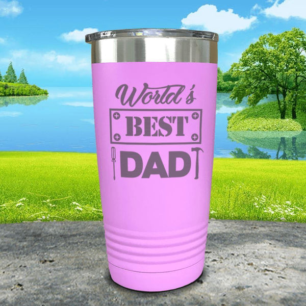 World's Best Dad Engraved Tumbler Tumbler ZLAZER 20oz Tumbler Lavender