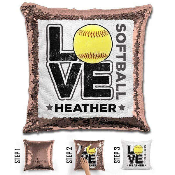 Personalized LOVE Softball Magic Sequin Pillow Pillow GLAM Rose Gold Black
