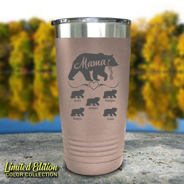 Mama Bear Nurse (CUSTOM) With Child's Name Engraved Tumblers Tumbler ZLAZER 20oz Tumbler Rose Gold