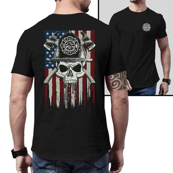 Firefighter American Flag Skull Premium Tee T-Shirts CustomCat Black X-Small