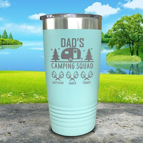 Dad's Camping Squad (CUSTOM) With Child's Name Engraved Tumblers Tumbler ZLAZER 20oz Tumbler Mint