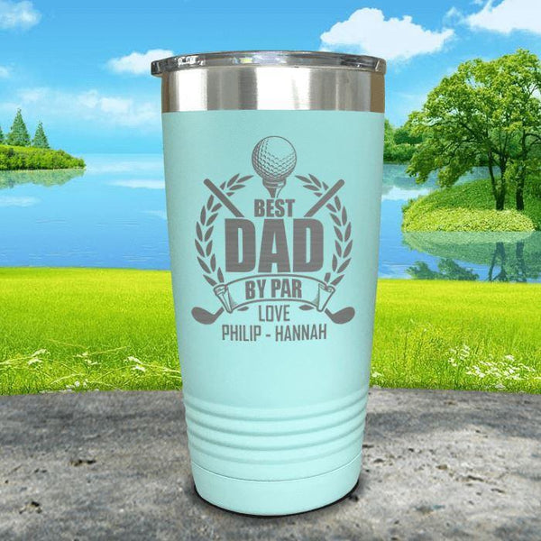 CUSTOM Best Dad By Par Engraved Tumblers Tumbler ZLAZER 20oz Tumbler Mint