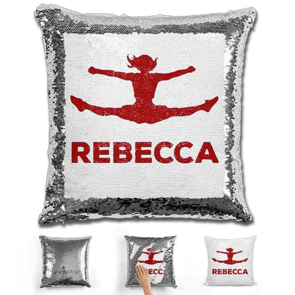 Competitive Cheerleader Personalized Magic Sequin Pillow Pillow GLAM Silver Maroon