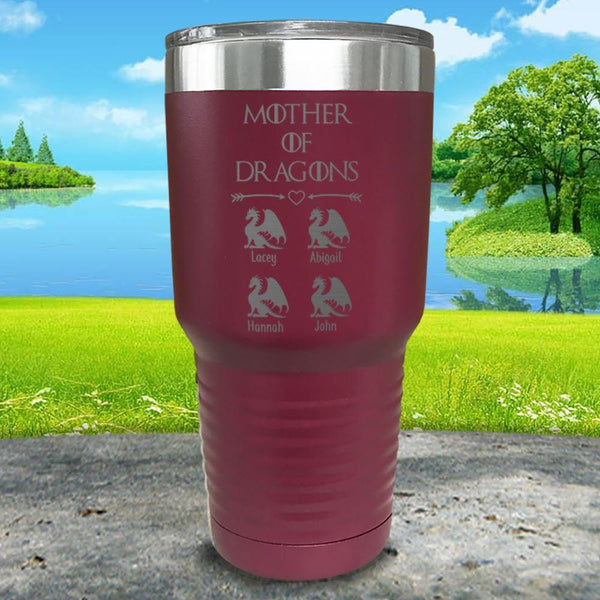 Mother Of Dragons (CUSTOM) With Child's Name Engraved Tumblers Tumbler ZLAZER 30oz Tumbler Maroon