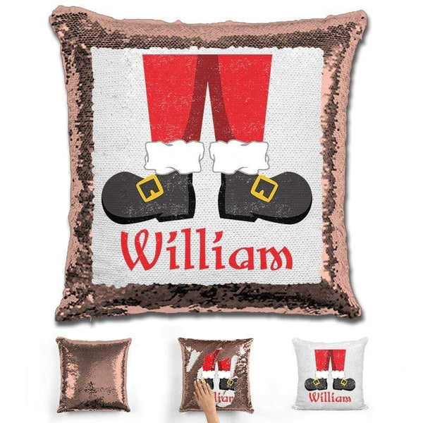 Personalized Santa Legs Magic Christmas Sequin Pillow Pillow GLAM Rose Gold