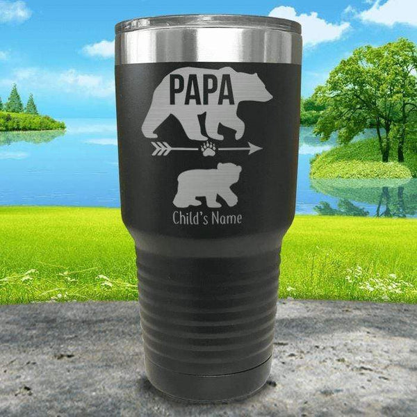 Papa Bear (CUSTOM) With Child's Name Engraved Tumblers Tumbler ZLAZER 30oz Tumbler Black