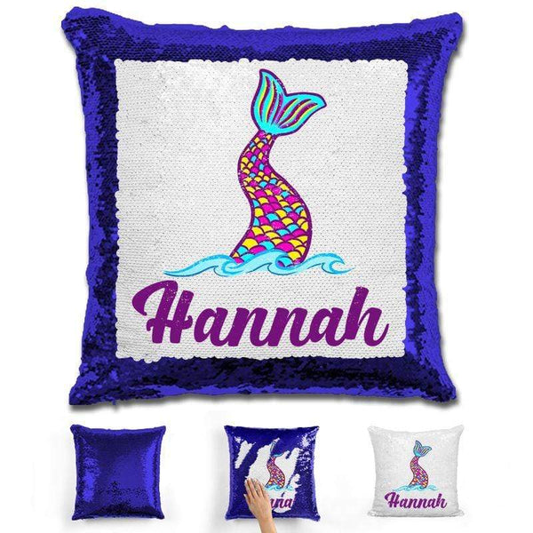 Mermaid Tail Personalized Magic Sequin Pillow Pillow GLAM Blue