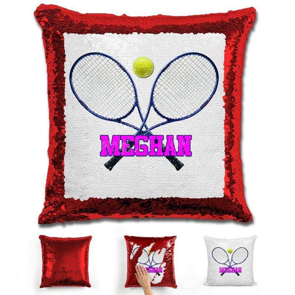 Tennis Personalized Magic Sequin Pillow Pillow GLAM Red Pink