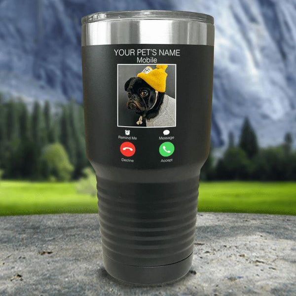 Personalized Pet Name & Photo Phone Color Printed Tumblers Tumbler Nocturnal Coatings 30oz Tumbler Black