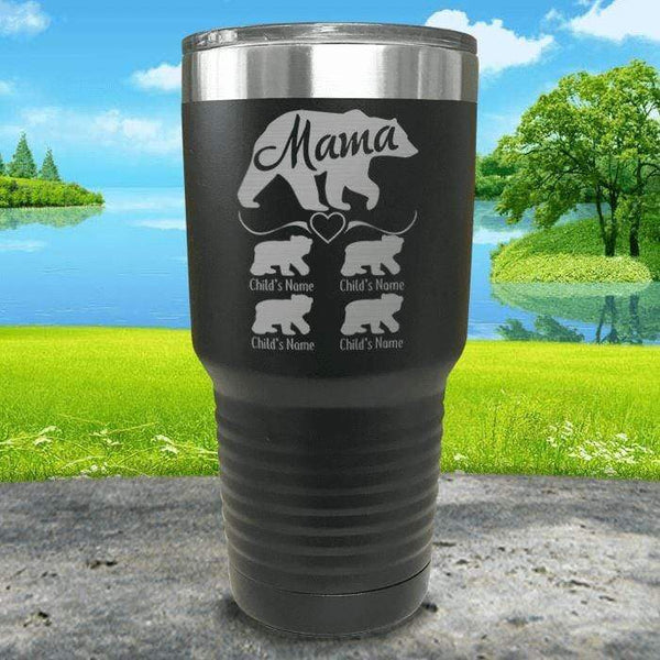 Mama Bear (CUSTOM) With Child's Name Engraved Tumblers Tumbler ZLAZER 30oz Tumbler Black