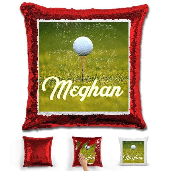Golf Personalized Flip Sequin Pillow Pillow GLAM Red