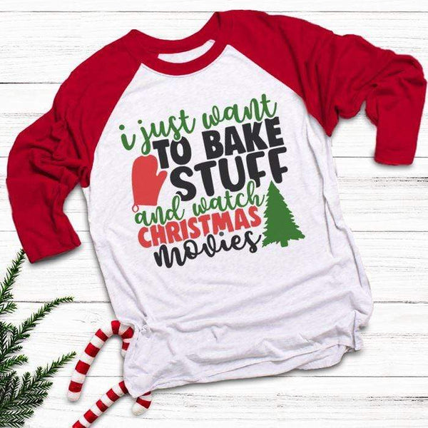Want To Bake Watch Christmas Movies Raglan T-Shirts CustomCat White/Red X-Small