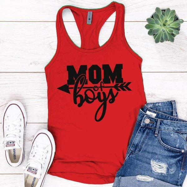 Mom Of The Boys Premium Tank Tops Apparel Edge Red S