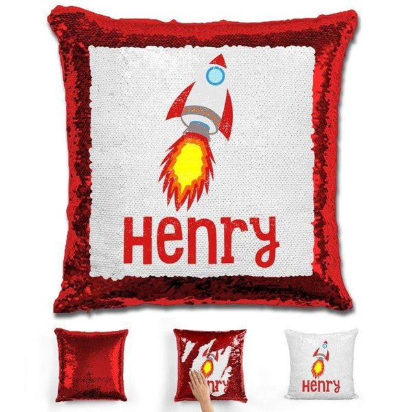 Rocket Ship Personalized Magic Sequin Pillow Pillow GLAM Red