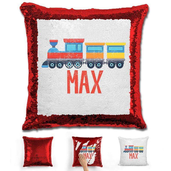 Train Personalized Magic Sequin Pillow Pillow GLAM Red