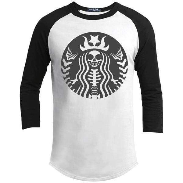 Skeleton Halloween T-Shirts CustomCat Raglan White/Black X-Small