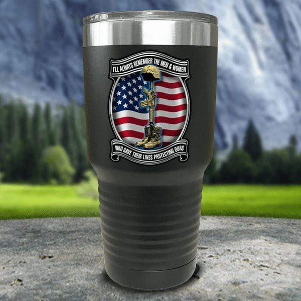 Veteran Always Remember Color Printed Tumblers Tumbler Nocturnal Coatings 30oz Tumbler Black