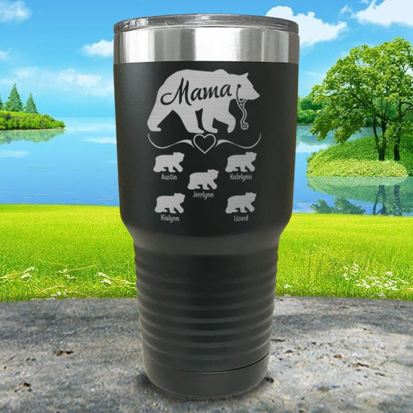 Mama Bear Nurse (CUSTOM) With Child's Name Engraved Tumblers Tumbler ZLAZER 30oz Tumbler Black