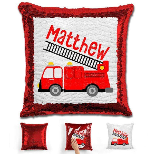 Firetruck Personalized Magic Sequin Pillow Pillow GLAM Red
