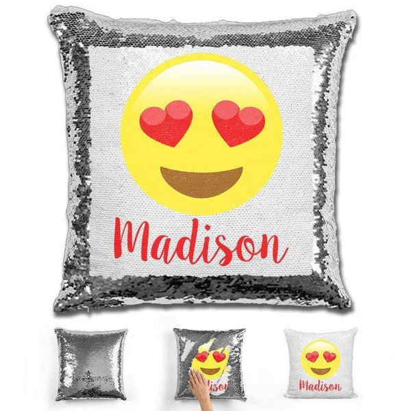 Heart Eyes Emoji Personalized Magic Sequin Pillow Pillow GLAM Silver