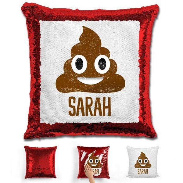 Personalized Poop Emoji Personalized Magic Sequin Pillow Pillow GLAM Red