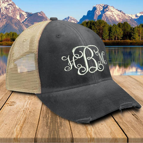 CUSTOM Monogram Initials Premium Trucker Hat Hat Edge Black