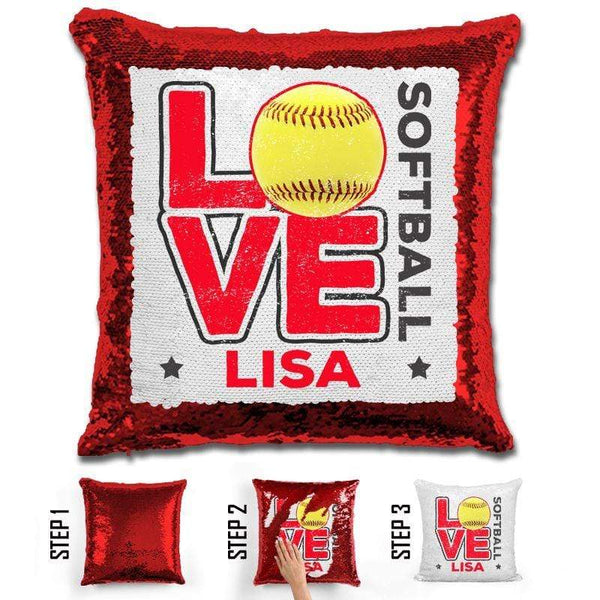 Personalized LOVE Softball Magic Sequin Pillow Pillow GLAM Red Red