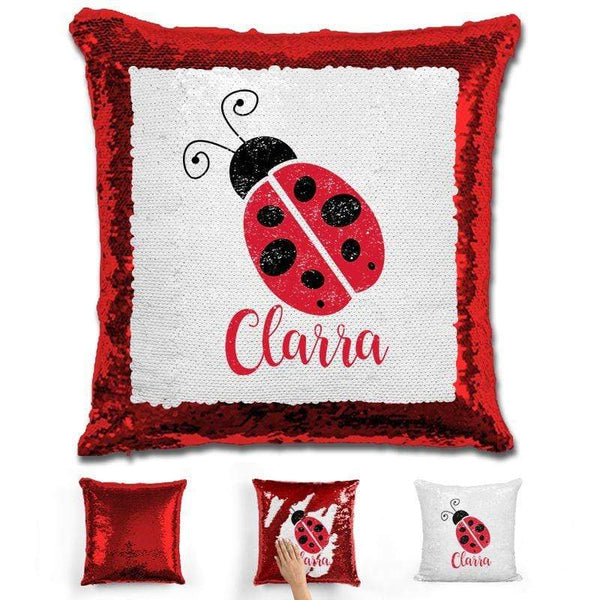 Ladybug Personalized Magic Sequin Pillow Pillow GLAM Red