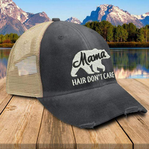 Mama Bear Hair Don't Care Premium Trucker Hat Hat Edge Black