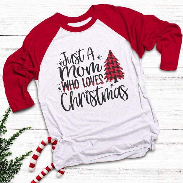 Mom Who Loves Christmas Raglan T-Shirts CustomCat White/Red X-Small