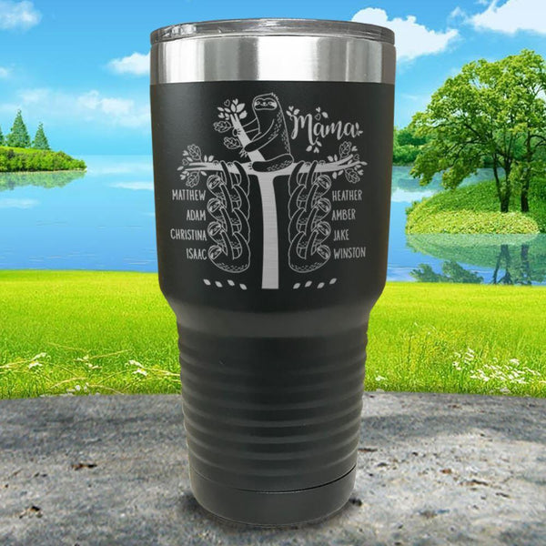 Sloth Mama (CUSTOM) With Child's Name Engraved Tumblers Tumbler ZLAZER 30oz Tumbler Black