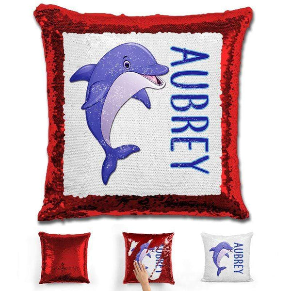 Dolphin Personalized Magic Sequin Pillow Pillow GLAM Red