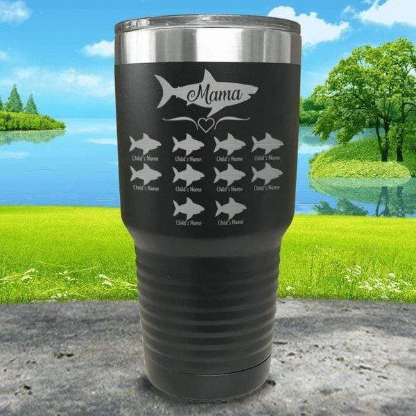 Mama Shark (CUSTOM) With Child's Name Engraved Tumblers Tumbler Southland 30oz Tumbler Black