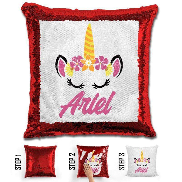 Unicorn Personalized Magic Sequin Pillow Pillow GLAM Red